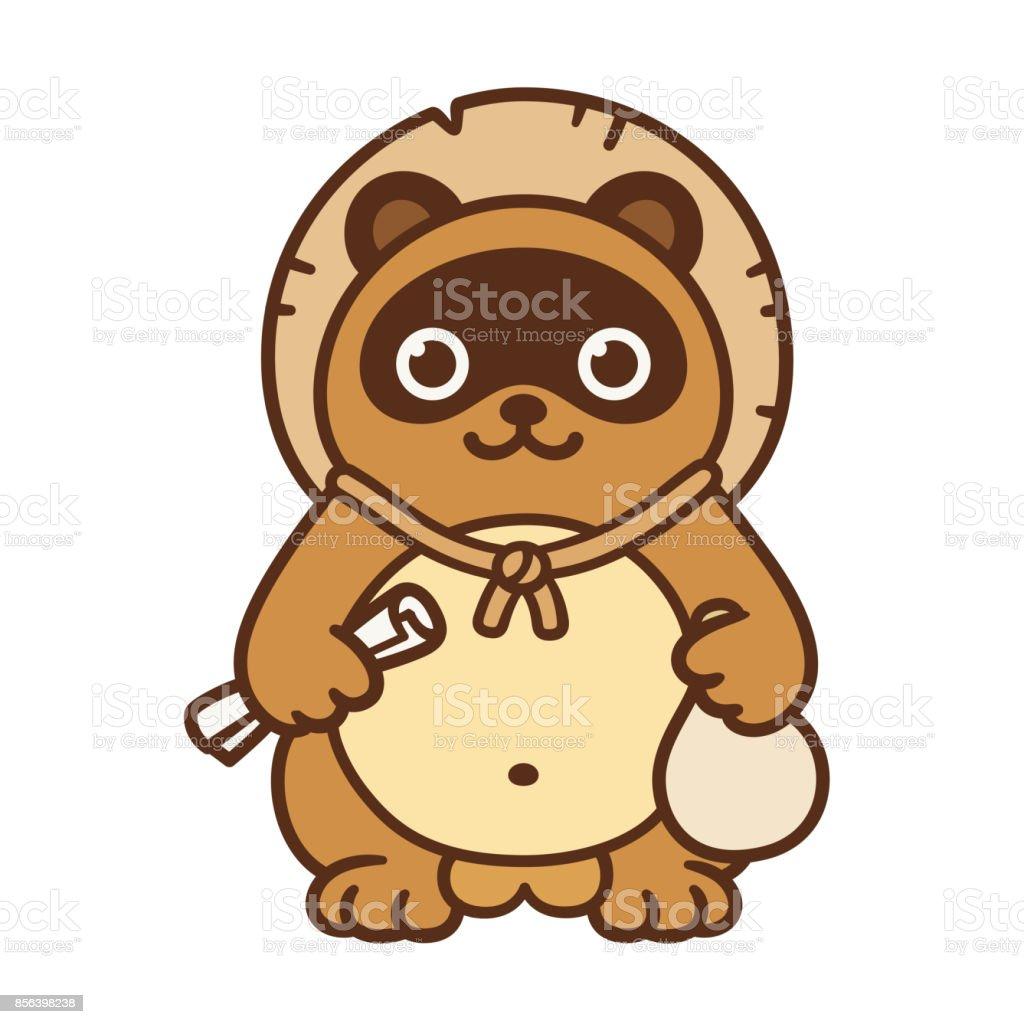 かわいい狸 日本語記号 お守りのベクターアート素材や画像を