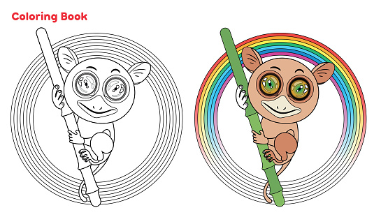 Cute Tarsier coloring book