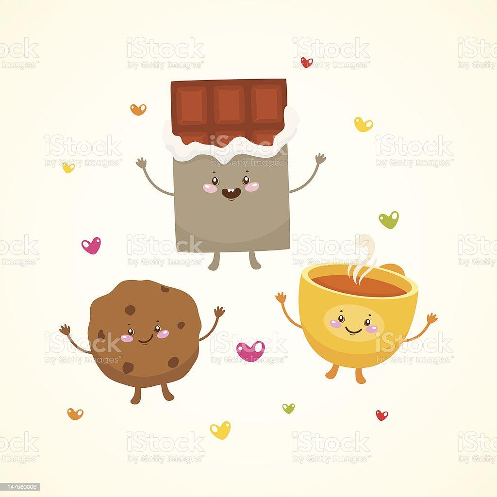 Cute tea party royalty-free stock vector art