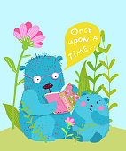 Cute animal teaching mom bear and puppy cub reading a book in the forest. Funny hand drawn vector cartoon.