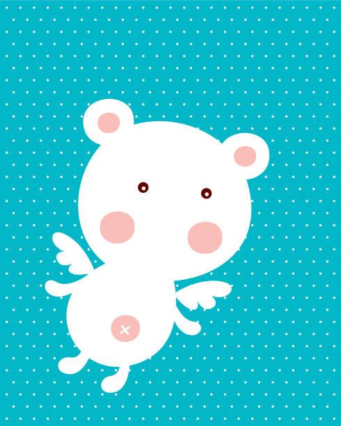 niedlicher Teddybär Bär Baby Ankunft Gruß Vektor – Vektorgrafik