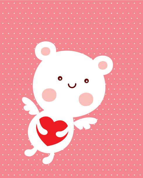 niedliche Teddybären-Engel Valentine Liebeskarte – Vektorgrafik