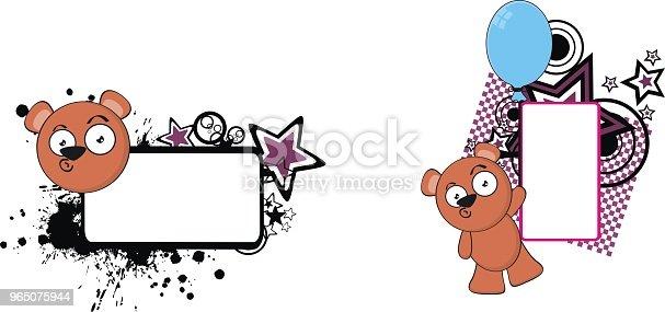 Cute Teddy Bear Cartoon Copy Space Set Stock Vector Art & More Images of Bear 965075944