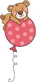 Cute teddy bear flying on top of big balloon