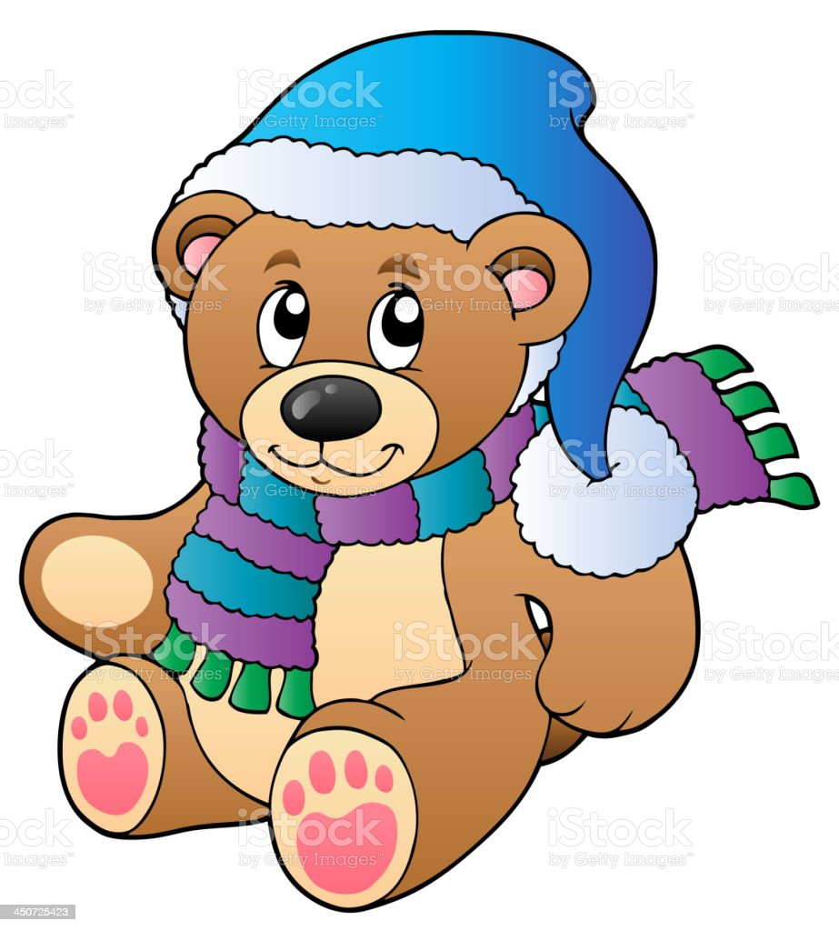 Cute teddy bear in winter clothes royalty-free stock vector art