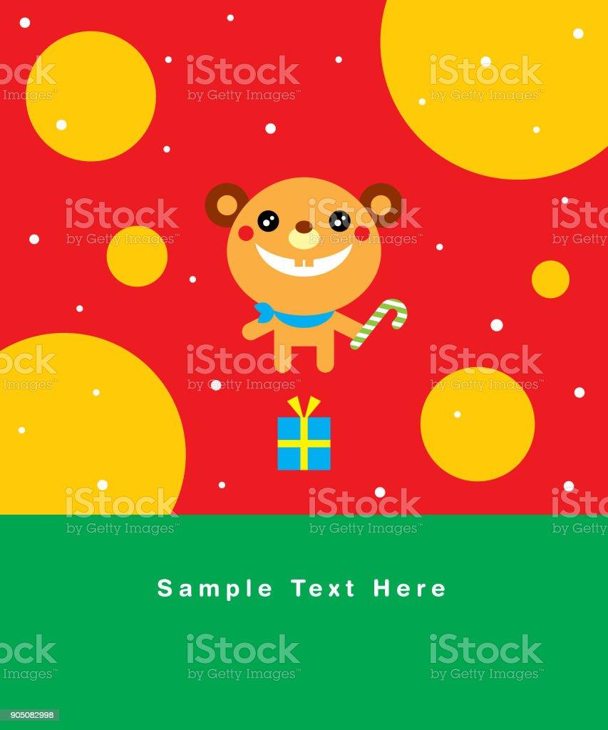 Cute Teddy Bear Merry Christmas Greeting Card Stock Vector Art