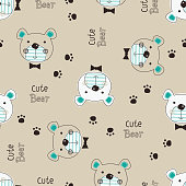 Cute Teddy Bear seamless pattern