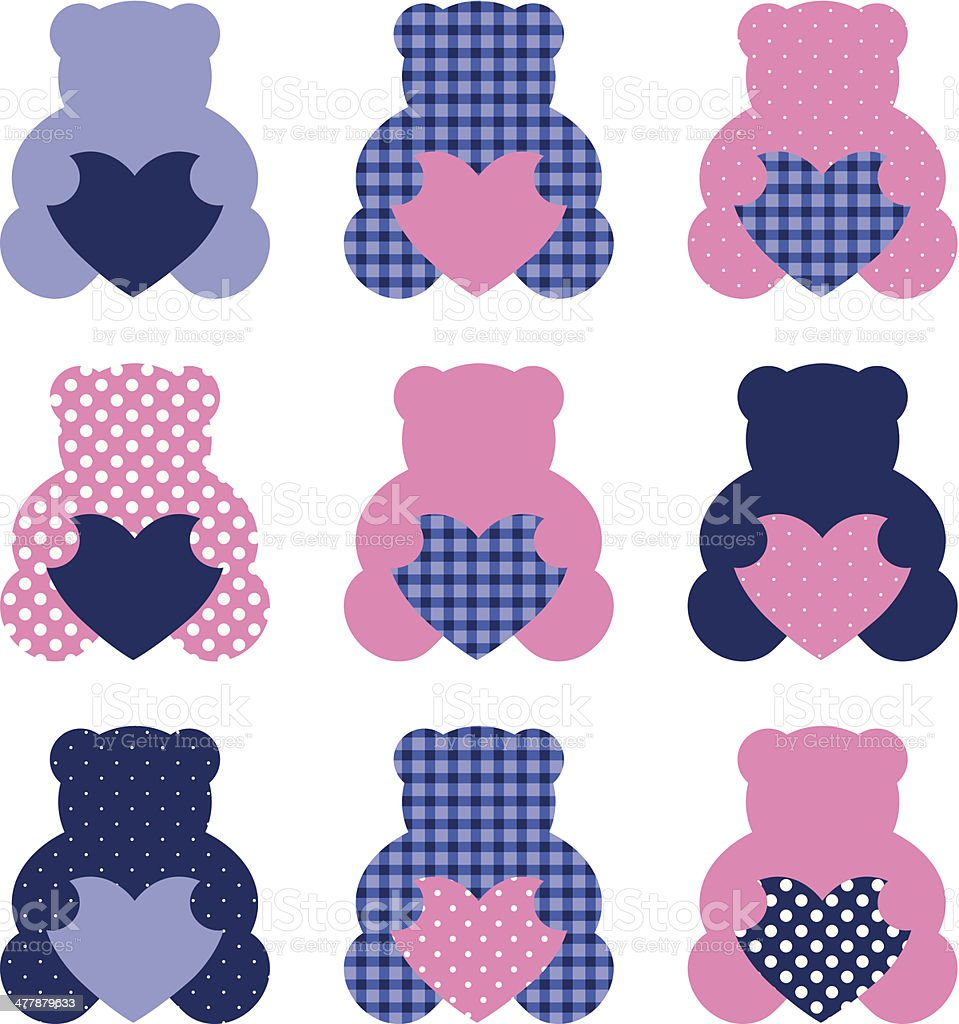 Cute Teddy Bear set isolated on white ( pink and blue ) royalty-free stock vector art