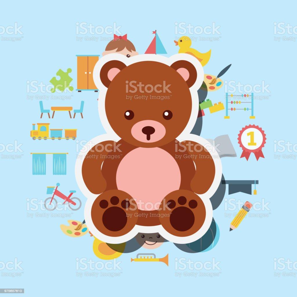 cute teddy bear toys background - ilustração de arte vetorial