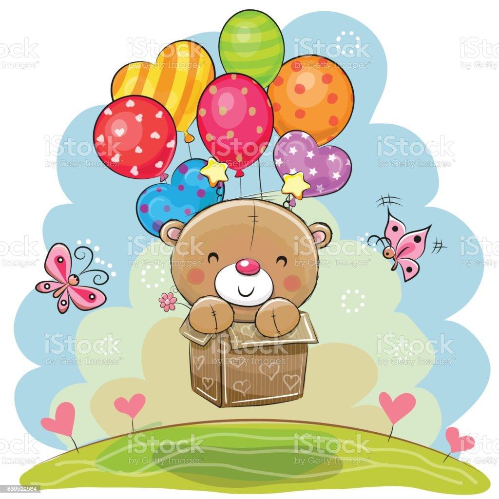 Cute Teddy Bear with balloons vector art illustration