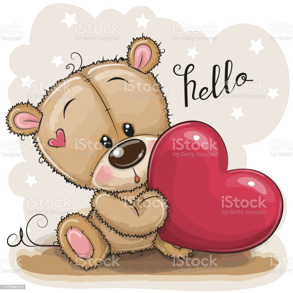 Cute Teddy Bear With Heart Stock Illustration Download Image Now Istock