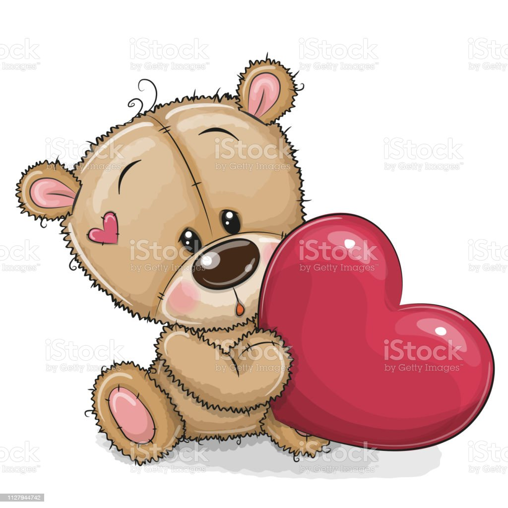 niedliche teddy bär mit herz stock vektor art und mehr