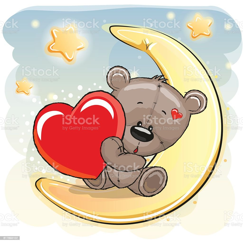 Cute Teddy Bear with heart vector art illustration