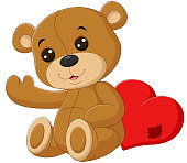 Vector illustration of Cute teddy bear with red heart
