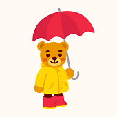 Cute cartoon teddy bear with umbrella. Bear character drawing with yellow raincoat and rain boots. Isolated vector clip art illustration.