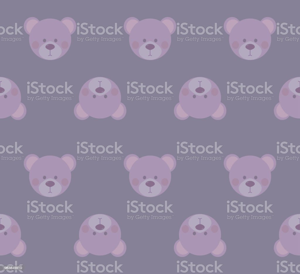 cute teddy bears heads - seamless pattern texture design for child themes on pastel purple background vector image - Royalty-free Cartoon stock vector