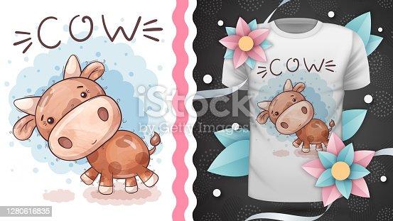 Cute teddy cow - idea for print t-shirt.