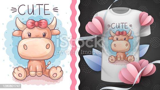 Cute teddy cow - idea for print t-shirt
