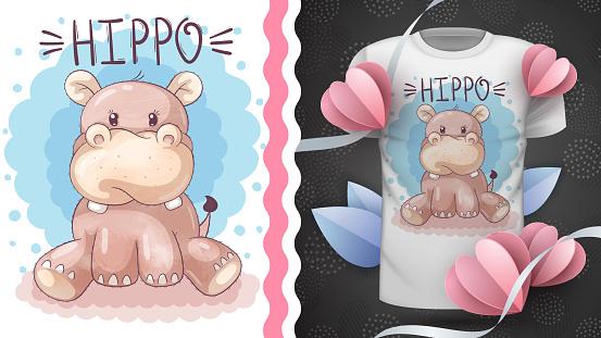 Cute teddy hippo idea for print t-shirt