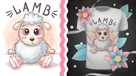 Cute teddy lamb - idea for print t-shirt