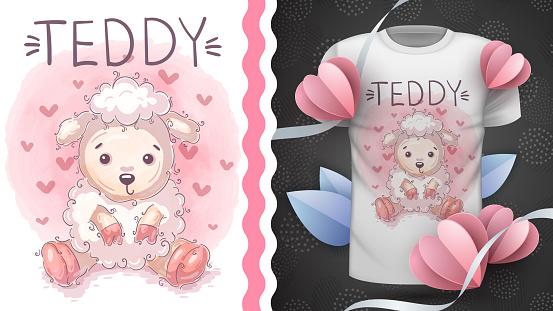 Cute teddy lamd - idea for print t-shirt