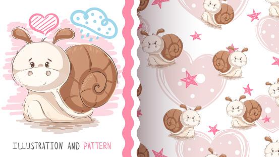 Cute teddy snail - seamless pattern