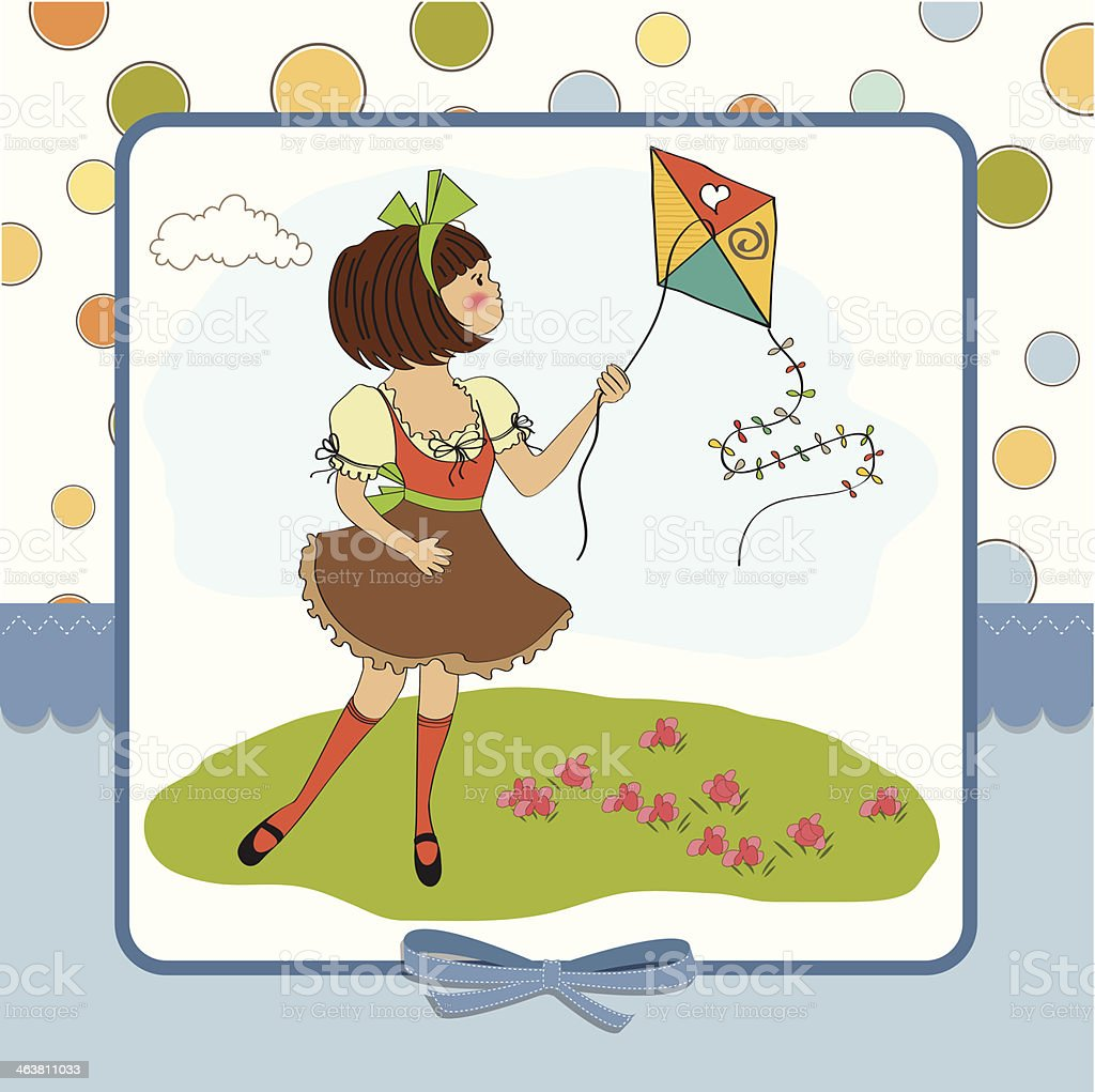 cute teens who are playing with a kite royalty-free stock vector art