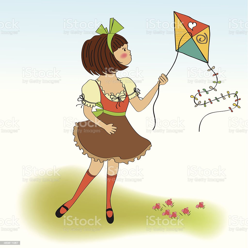 cute teens who are playing with a kite royalty-free cute teens who are playing with a kite stock vector art & more images of adult
