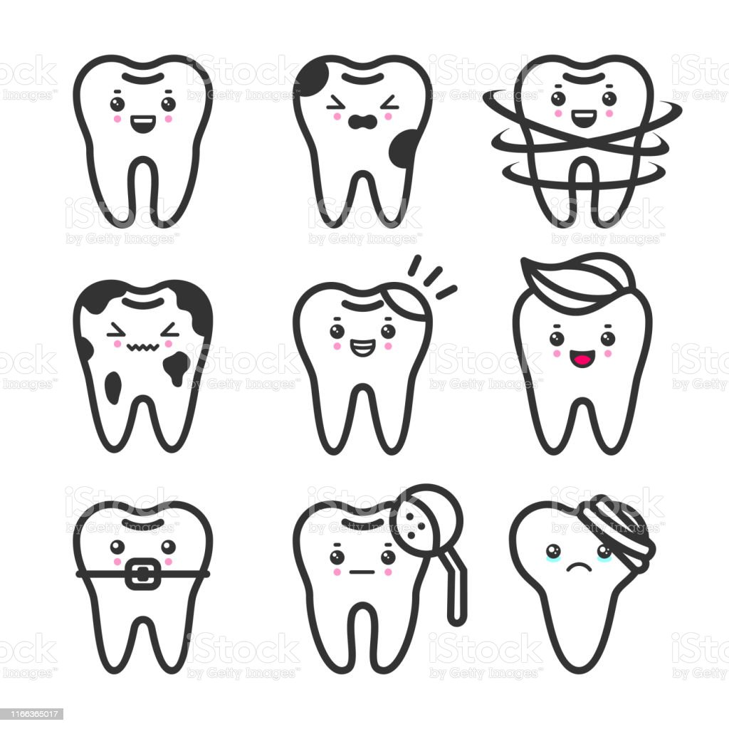 Cute Teeth Outline Vector Set With Different Emotions Different Tooth Conditions Stock Illustration Download Image Now Istock
