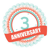 Cute Template 3 Years Anniversary with Balloons and Ribbon Vector Illustration EPS10