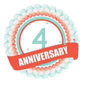 Cute Template 4 Years Anniversary with Balloons and Ribbon Vector Illustration EPS10