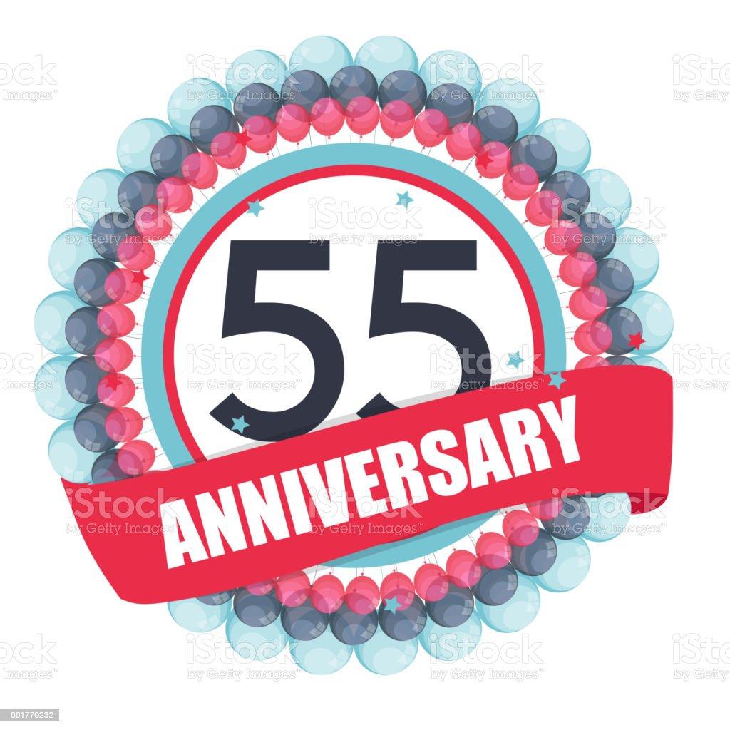 Schattig Sjabloon 55 Jaar Verjaardag Met Ballonnen En Lint Vect