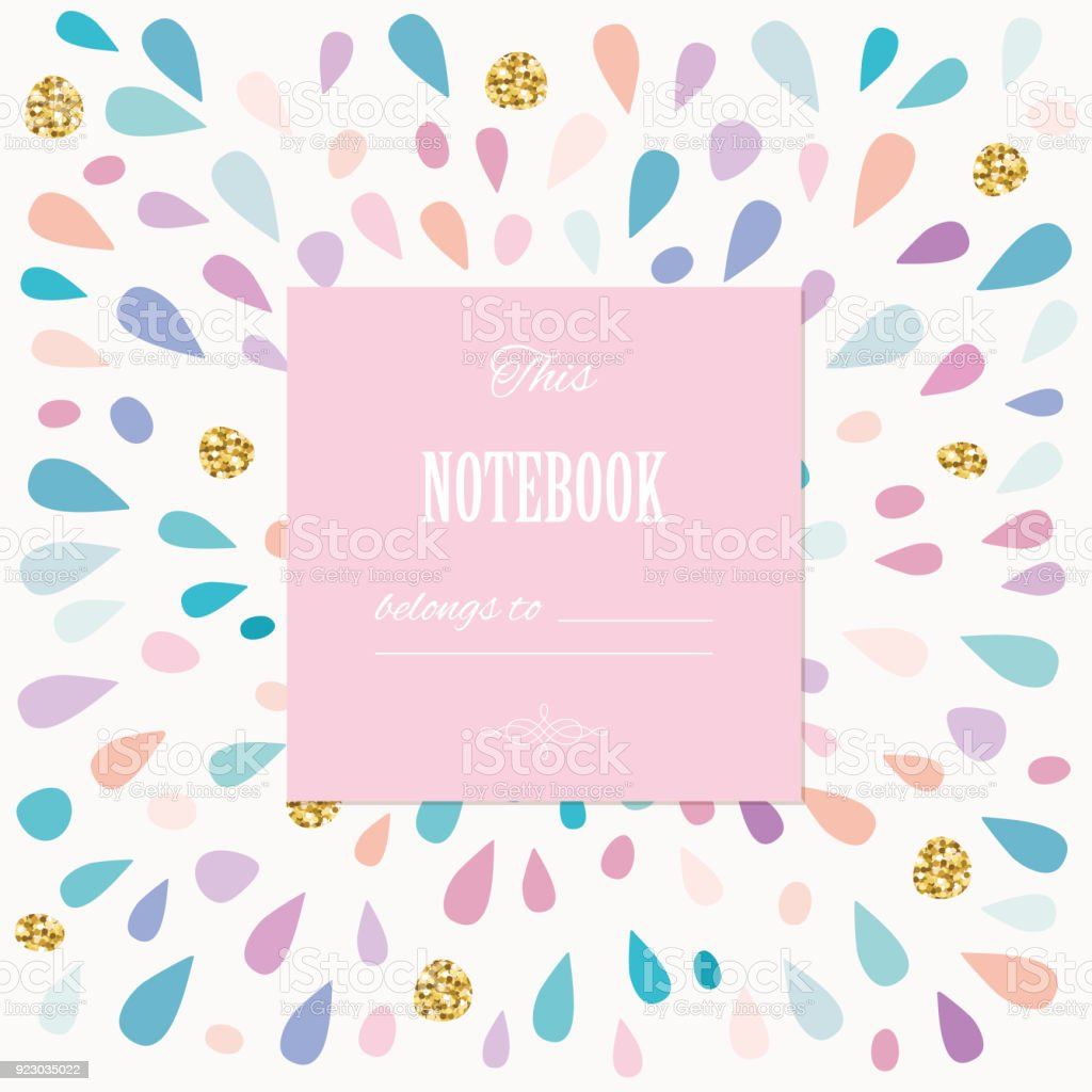 cute template for girls greeting card or notebook cover design stock