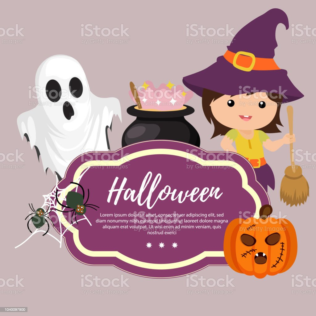 Niedliche Vorlage Halloween Hexe Besen Stock Vektor Art Und Mehr
