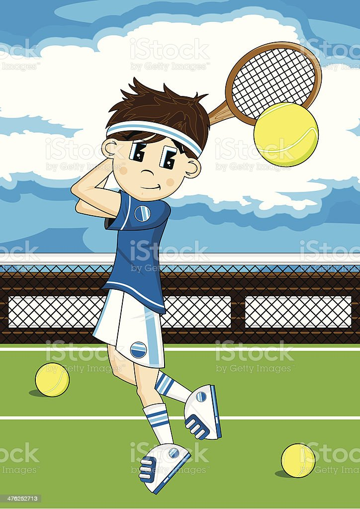 Cute Tennis Boy on Court vector art illustration