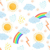 Seamless pattern with cute textured cartoon weather elements in pastel colors. Funny vector clouds, sun and rainbow texture for kids textile design, wrapping paper, surface, wallpaper, background