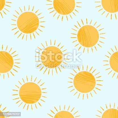 istock Cute textured cartoon yellow sun pattern 1226825202