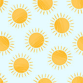 Seamless pattern with cute textured cartoon yellow shiny suns on blue sky. Funny vector sun texture for kids textile design, wrapping paper, surface, wallpaper, background