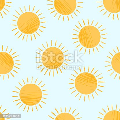 istock Cute textured cartoon yellow sun pattern 1226825202