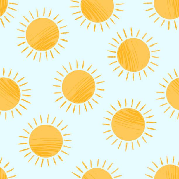 귀여운 질감 만화 노란색 태양 패턴 - summer stock illustrations
