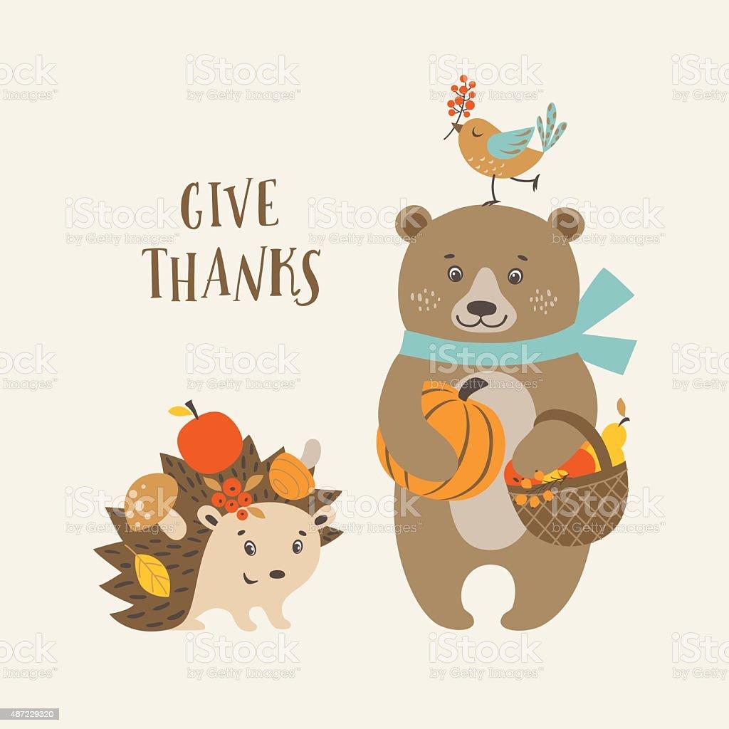 かわいい感謝祭の日のカード のイラスト素材 487229320 | istock