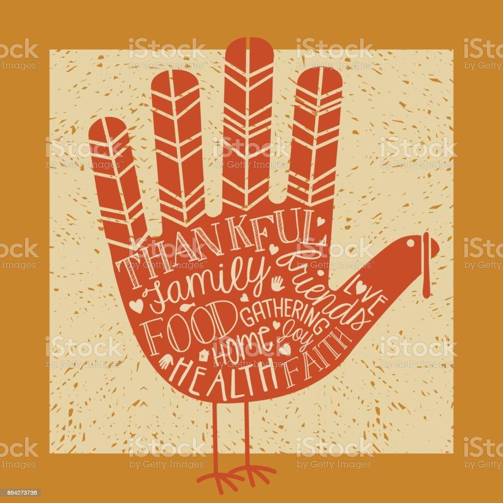 Cute Thanksgiving Turkey Made From Childs Hand Outline Handwritten
