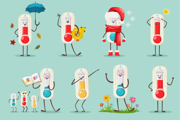cute thermometer in santa hat, inflatable duck ring, alphabet book and kids, umbrella and autumn leaves, flowers and dabbing pose. vector cartoon flat temperature character set isolated on background. - four seasons stock illustrations