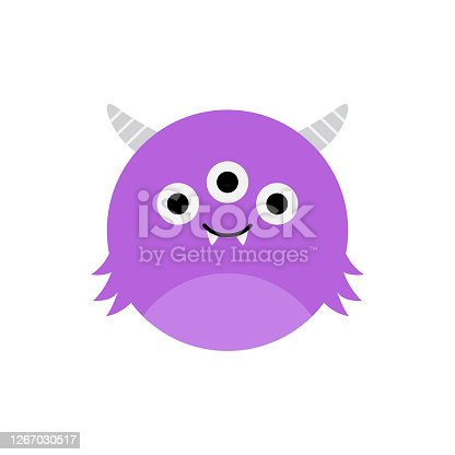 istock Cute three eyed monster 1267030517