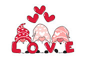 Cute Three pink Gnome LOVE with heart, Valentine day, cartoon vector illustration for greeting card, t shirt, apparels printable