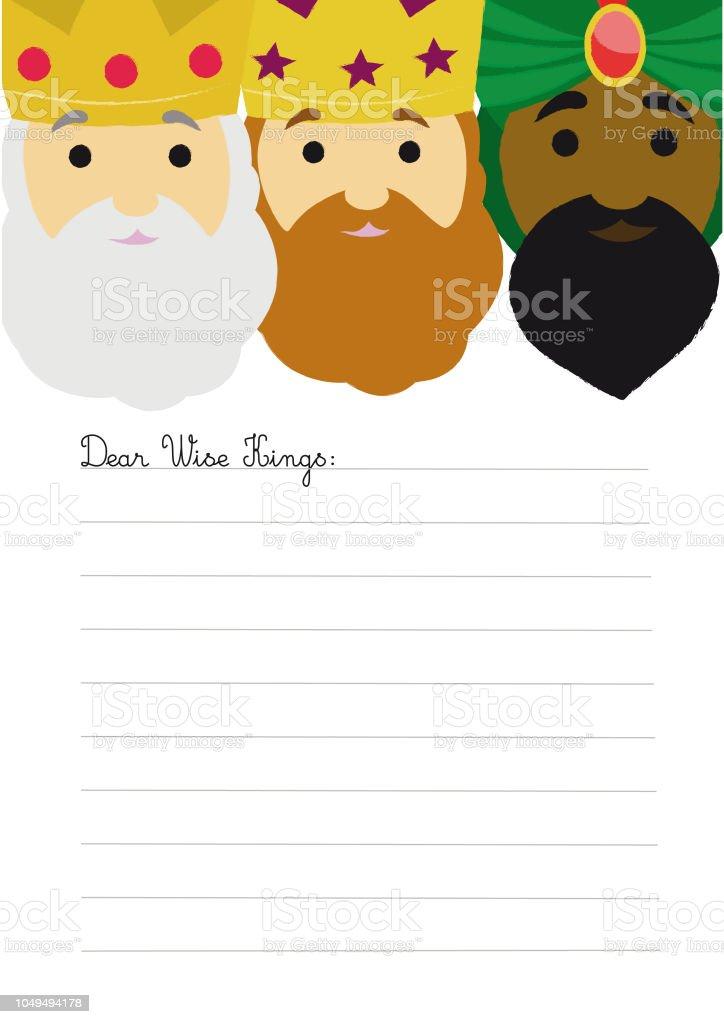 かわいい 3 人の賢明な王の手紙テンプレート お祝いのベクターアート