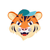 istock Cute tiger character, face with angry emotions. Wild animals of africa, grumpy cartoon muzzle in a cap 1318679606