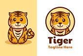 istock cute Tiger cub cartoon logo design 1265220596