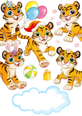 Cute tiger cubs running forward cartoon characters vector vertical illustration