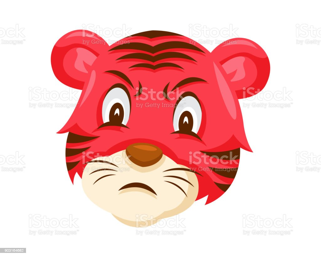 Cute Tiger Face Emoticon Emoji Showing Angry Face Expression Stock